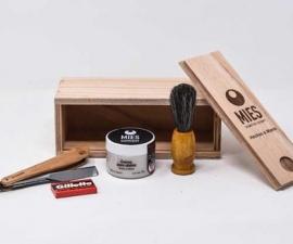 Box Afeitar (Caja Madera Con Navaja, Crema Afeitar Y Brocha)